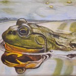 pond frog painting