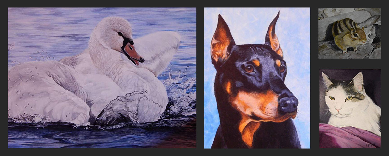 View my art gallery of wildlife paintings, landscapes, and pet portraits of dogs, cats, and birds.