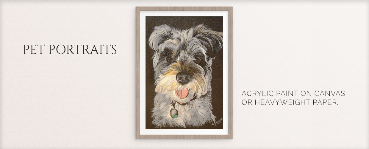 Pet Portraits: acrylic paint on canvas or pencil on heavy weight paper