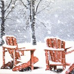 Chairs in the Snow, Winter Painting
